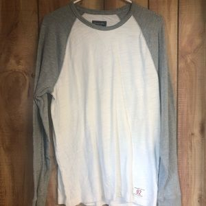 Abercrombie & Fitch LS gray & white shirt size S